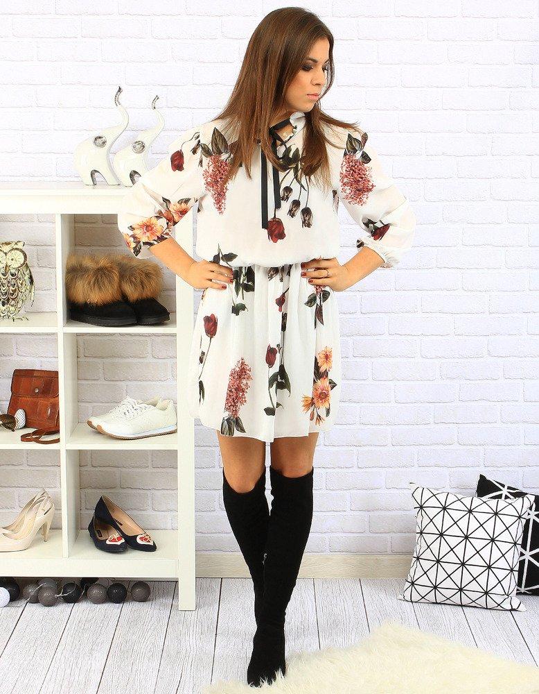 Sukienka Carla biała w kwiaty (ey0218)