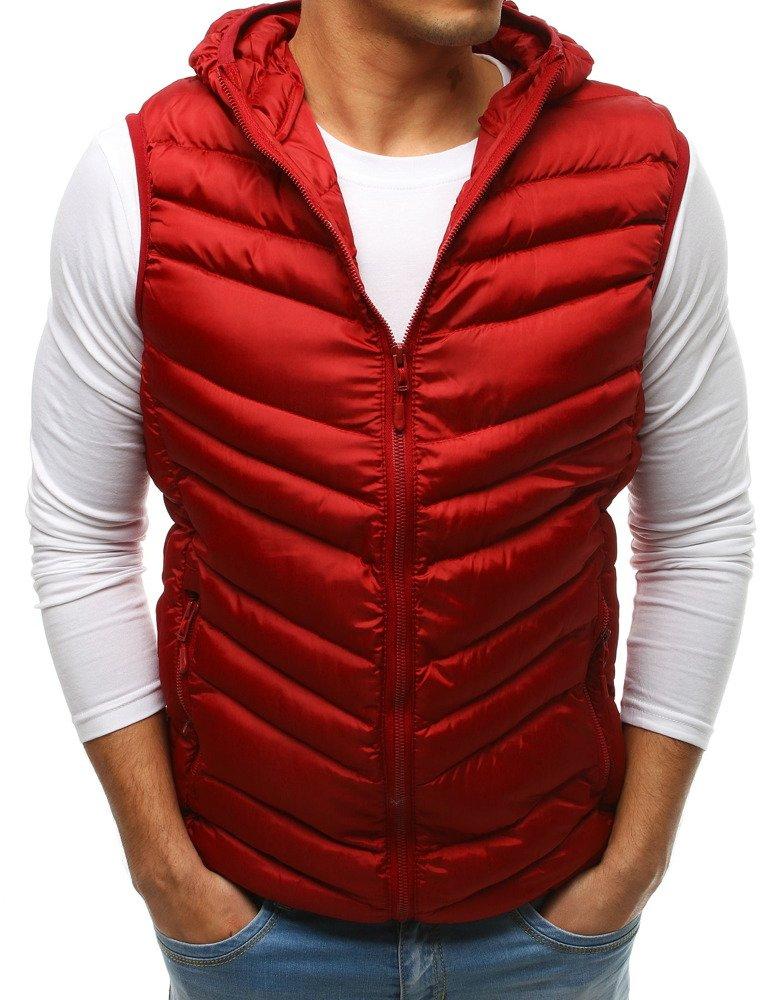 Trendová červená vesta s kapucňou (tx2661)