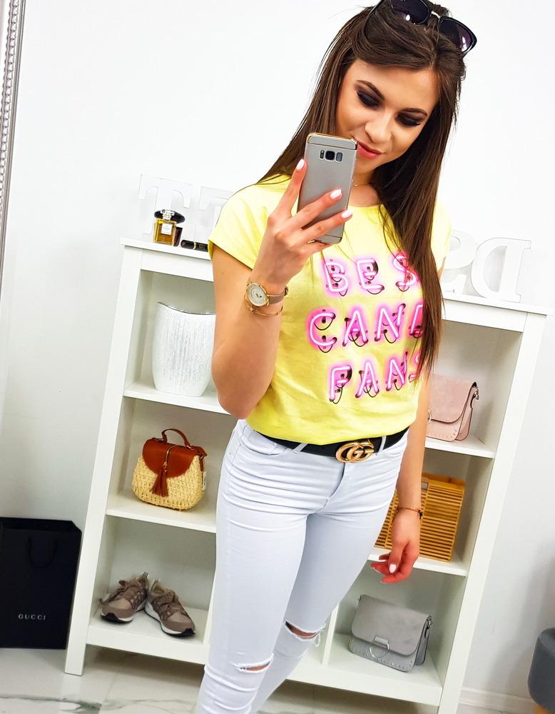 T-shirt damski z nadrukiem cytrynowy (ry0816)