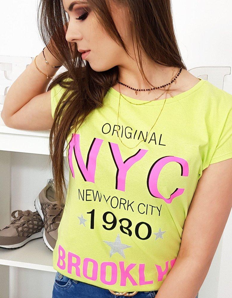 T-shirt damski z nadrukiem limonkowy (ry1001)