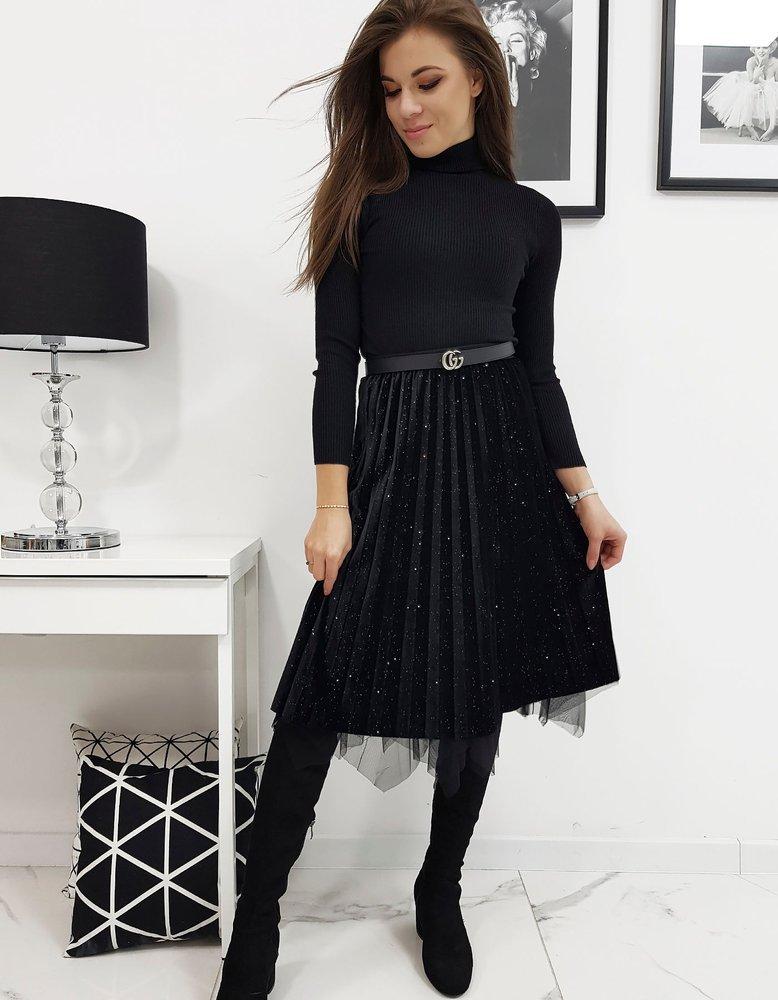 Obojstranná zamatová sukňa čierna