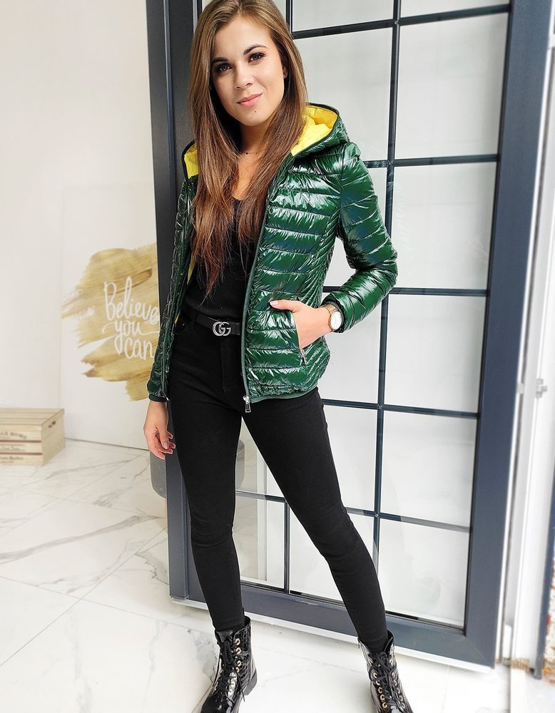 Lesklá prešívaná bunda zelená