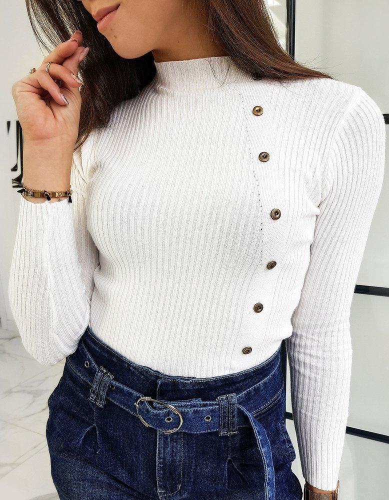 Sweter damski półgolf BALANI biały MY0794