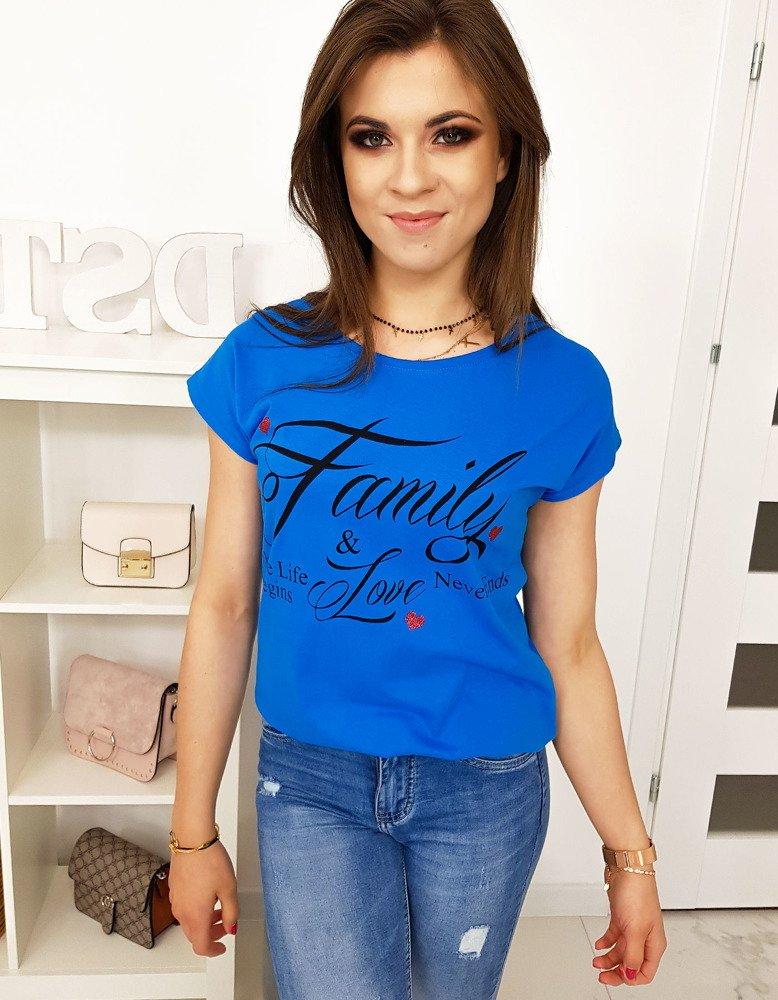 T-shirt damski z nadrukiem chabrowy (ry1011)