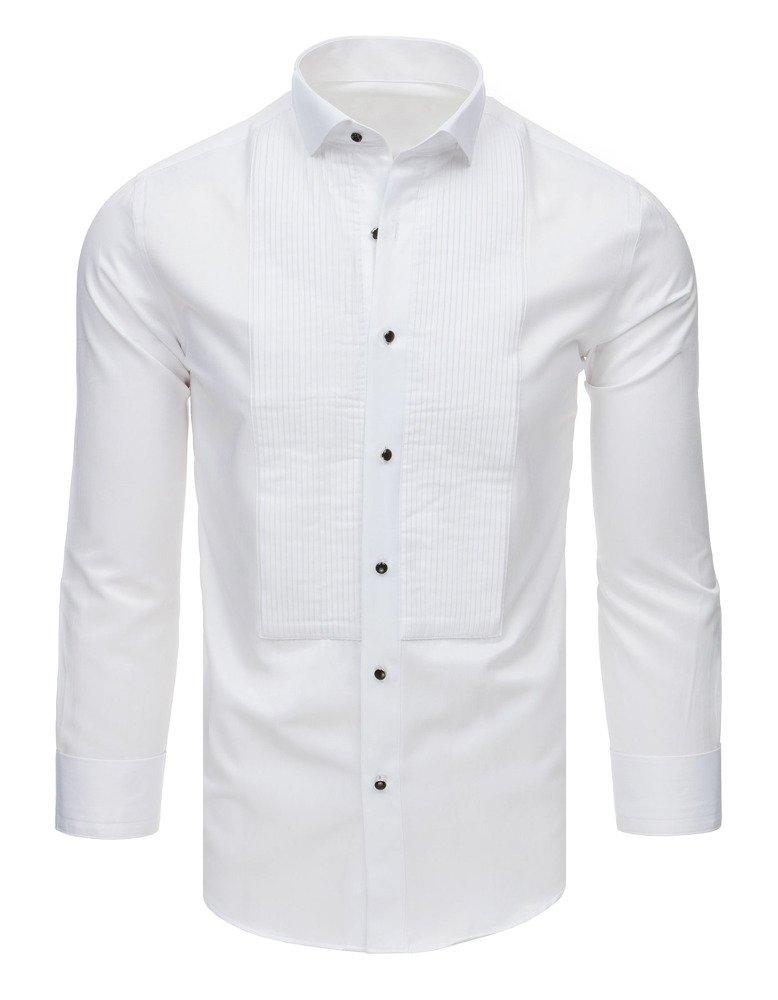Košeľa smokingová s plisovaným biela