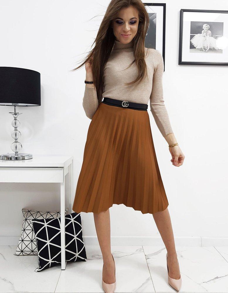 Plisovaná sukňa karamelová
