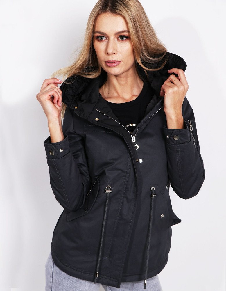 Čierna obojstranná dámska bunda (ty0572)