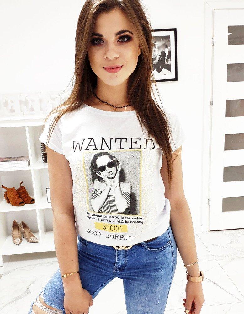 T-shirt damski WANTED z nadrukiem biały RY0830