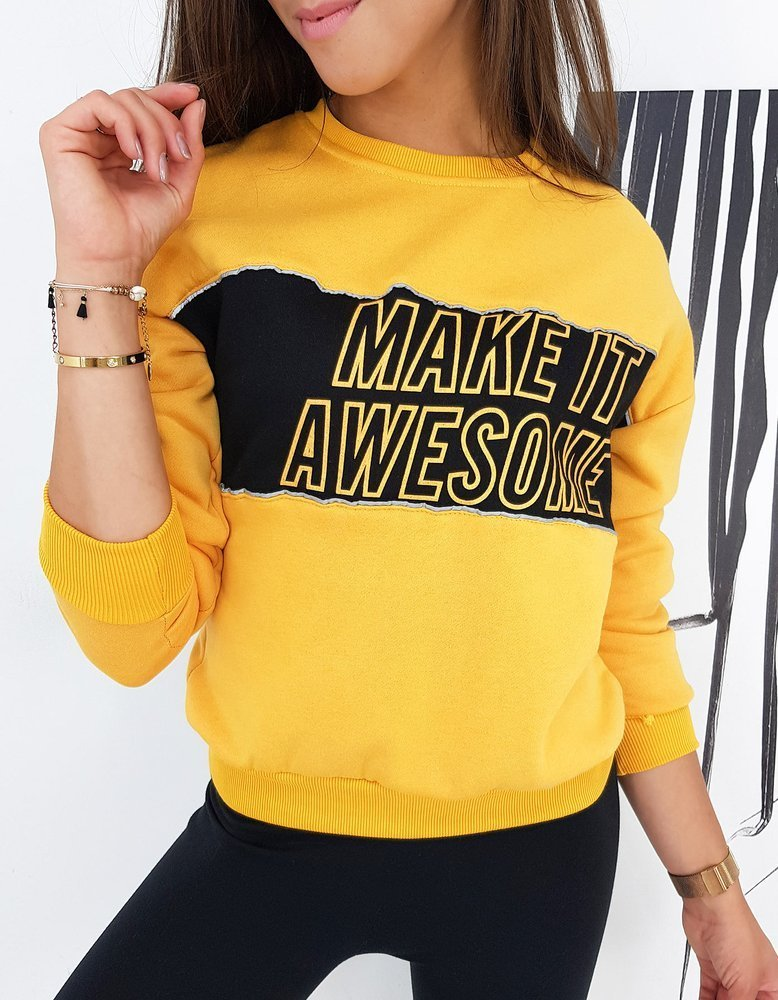 Bluza damska MAKE IT żółta BY0507
