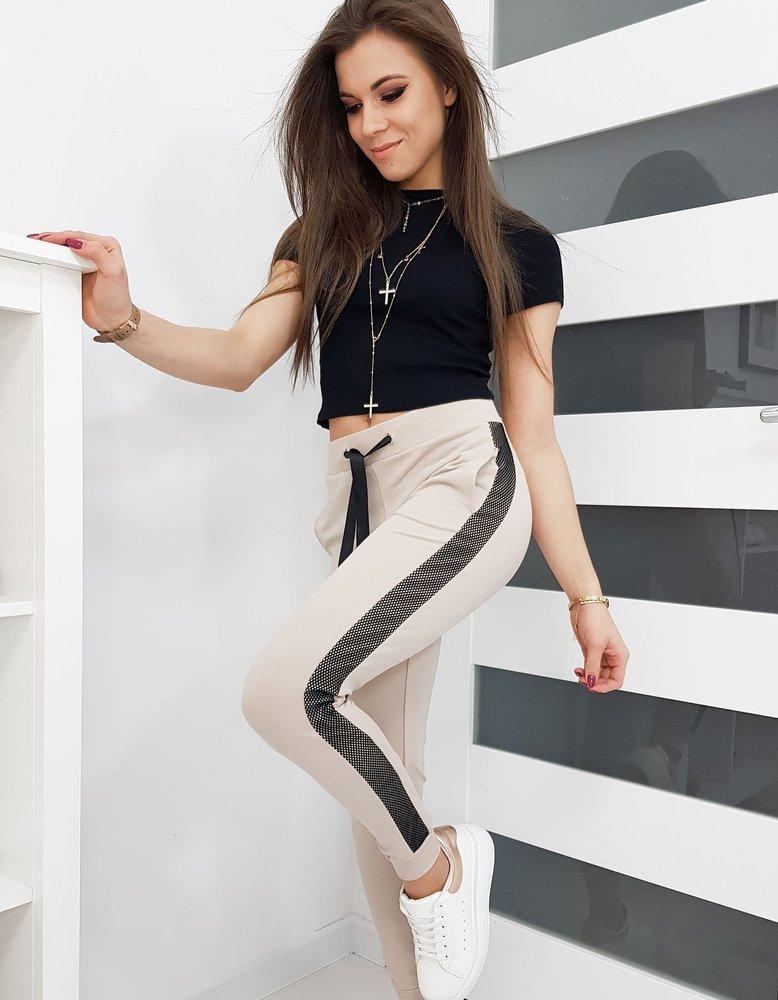 Spodnie dresowe damskie LORENA beżowe UY0264