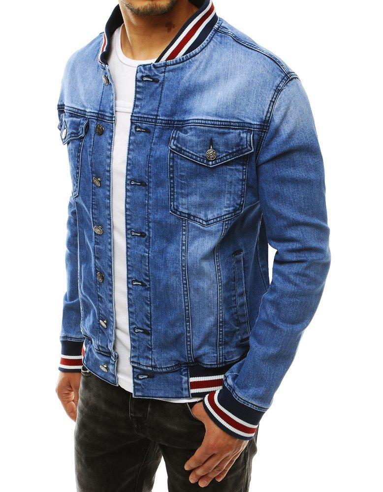 Pánska modrá rifľová bunda so stojačikom TX3305