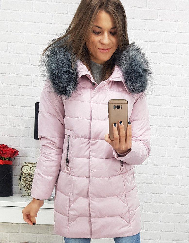 Ružová dámska bunda na zimu (ty0407)