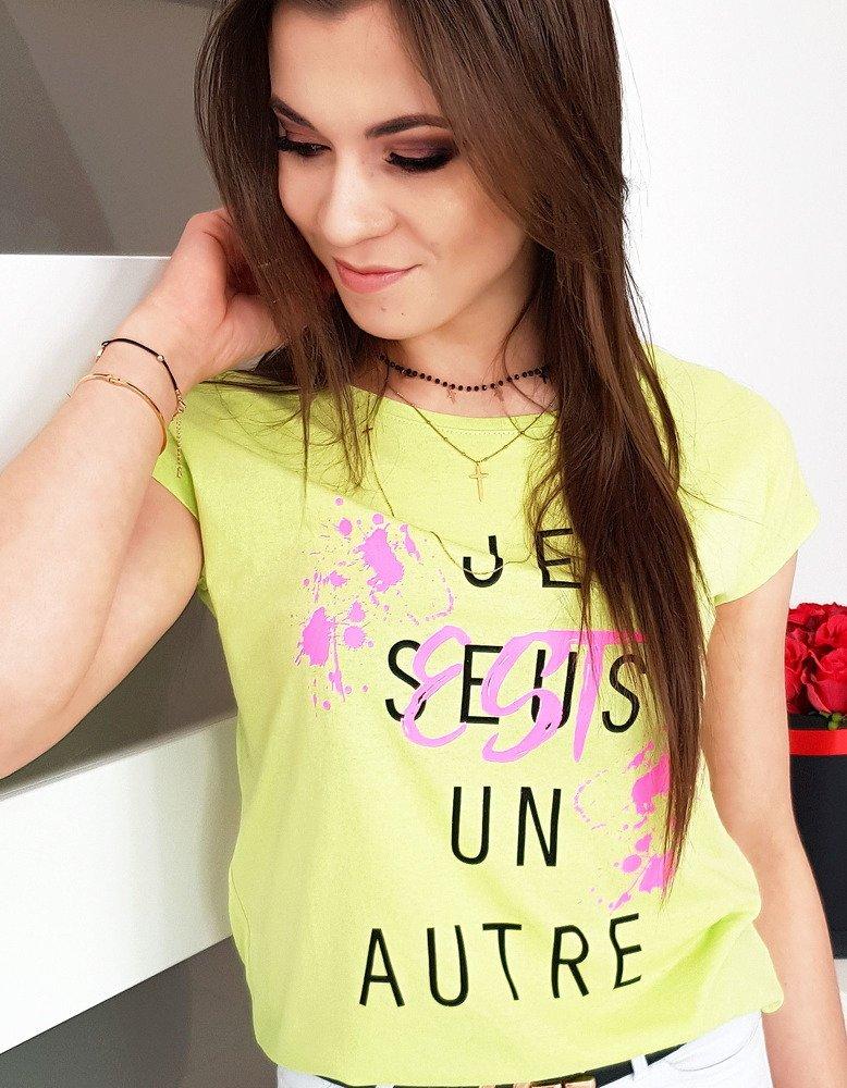 T-shirt damski z nadrukiem limonkowy RY0941