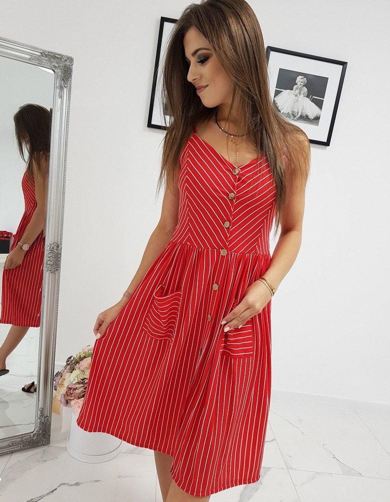 Krásne červené dámske šaty (ey0956)