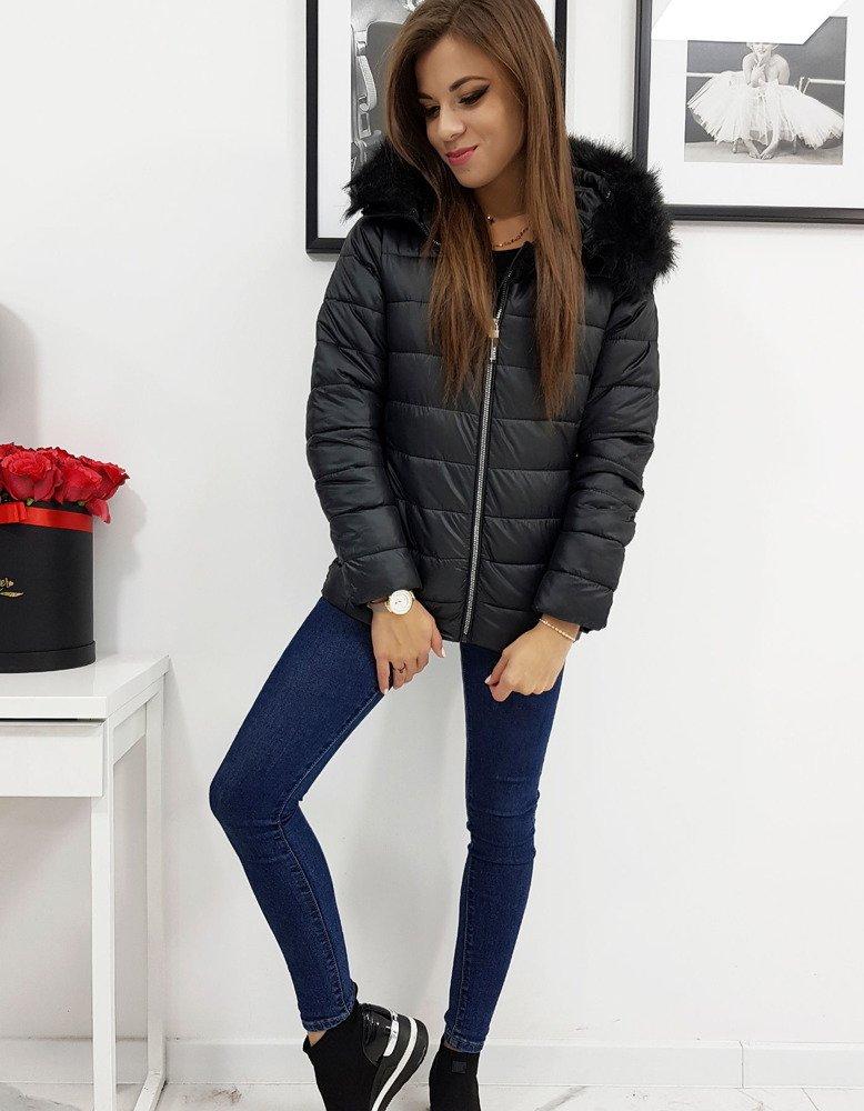Zimná čierna dámska bunda ESTELLA s kapucňou (ty1009)
