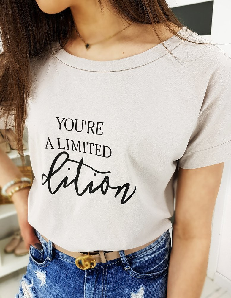 T-shirt damski YOU'RE A LIMITED beżowy RY1306
