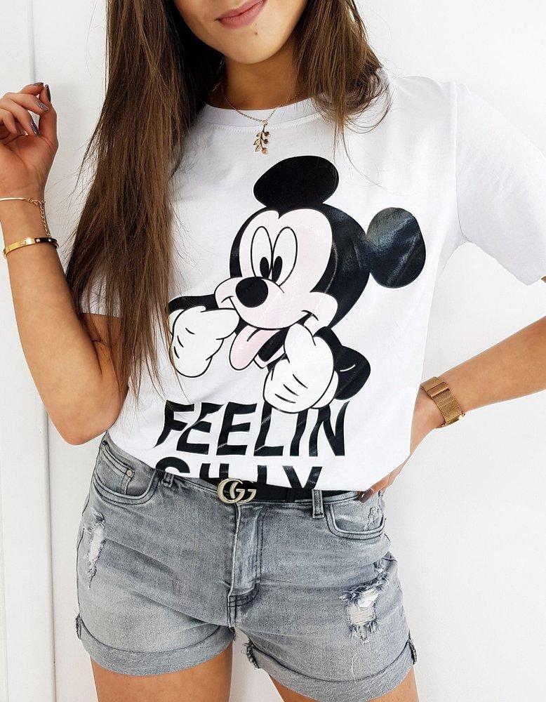 T-shirt damski MICKY FEELIN biały RY1404