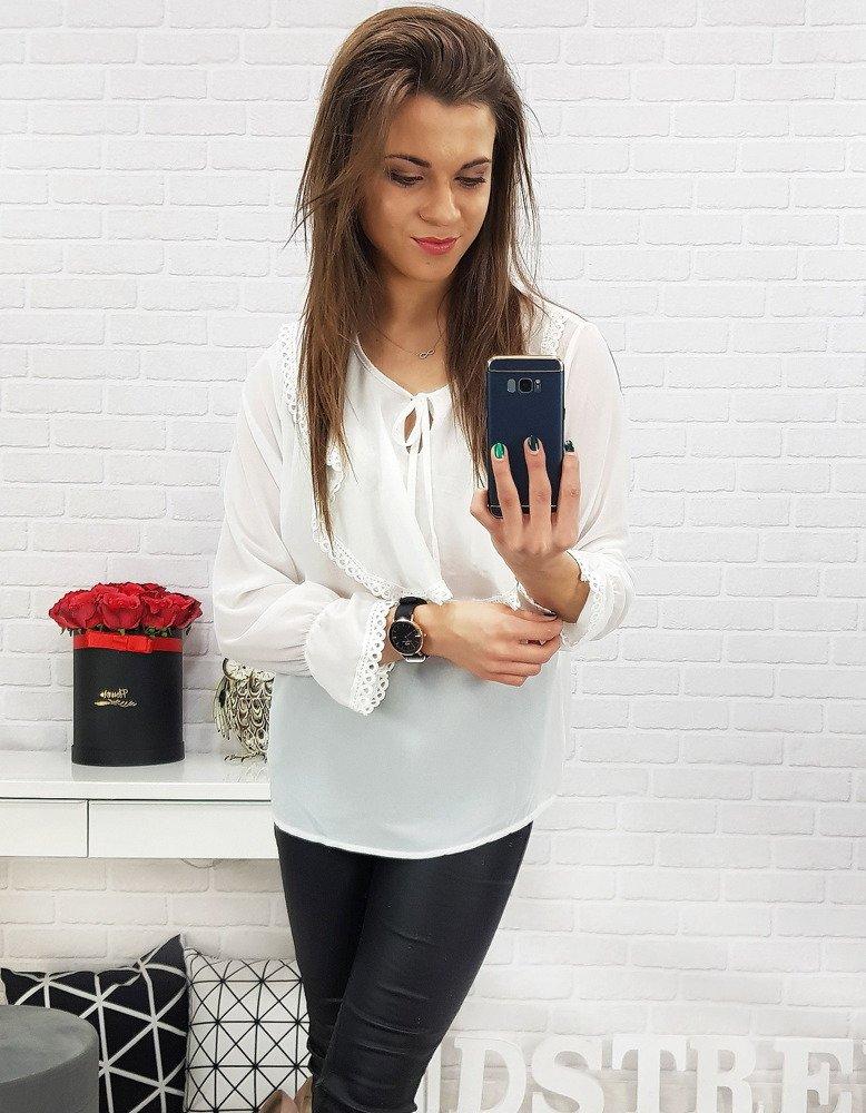 Bluzka damska z żabotem biała RY0552