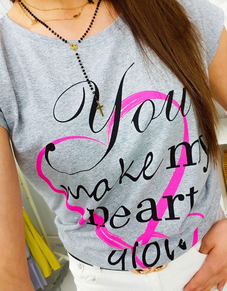 T-shirt damski HEART z nadrukiem szary (ry0780)