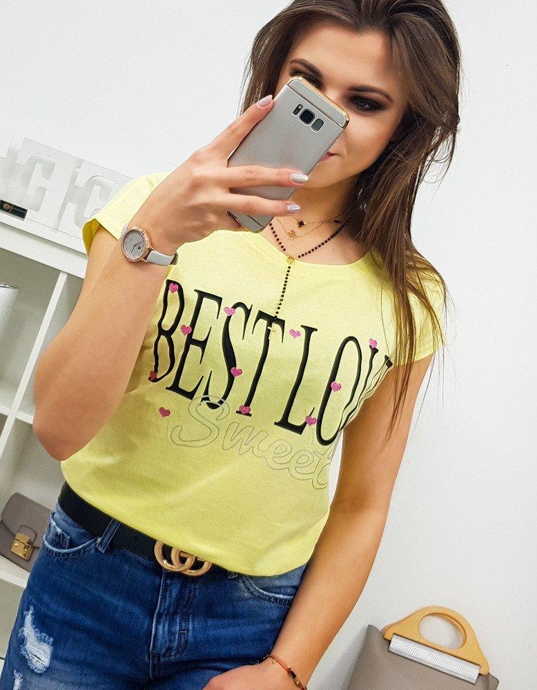 Dámske tričko BEST LOVE žlté (ry0860)