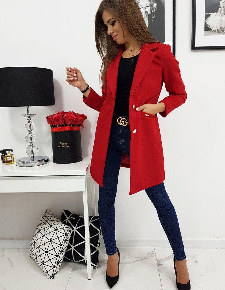 Dámský kabát jednoradový červený