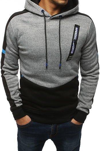 Bluza męska z kapturem czarno szara BX3796 sklep online