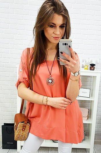 Bluzka damska CORNELIA fioletowo biała (ry0547) sklep