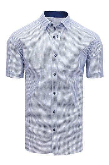 1015a2a20d Koszula męska elegancka we wzory z krótkim rękawem biała(kx0887)