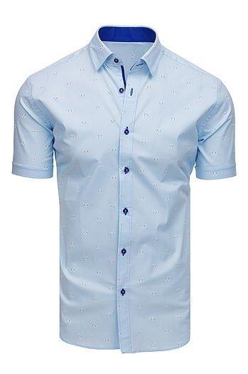 e80839aa4611 Koszula męska elegancka we wzory z krótkim rękawem błękitna (kx0892)