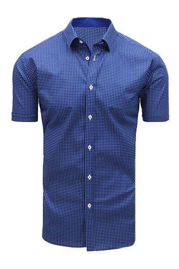 cff22900c6e1 Koszula męska elegancka we wzory z krótkim rękawem granatowa (kx0891)