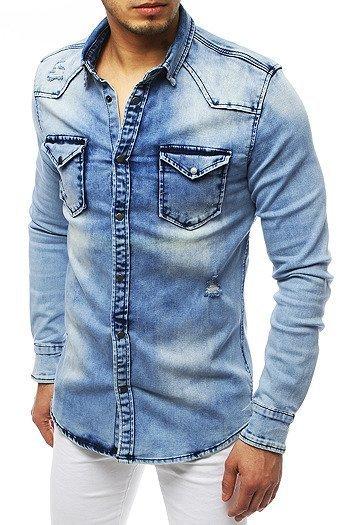 Koszula męska jeansowa szara DX1843 sklep online Dstreet.pl  h4DFk