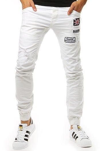 25cddc17ad Spodnie joggery jeansowe męskie białe (ux1264)