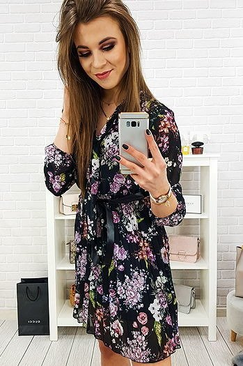 efe992d917 Sukienka RICCHI czarna w kwiaty (ey0670)