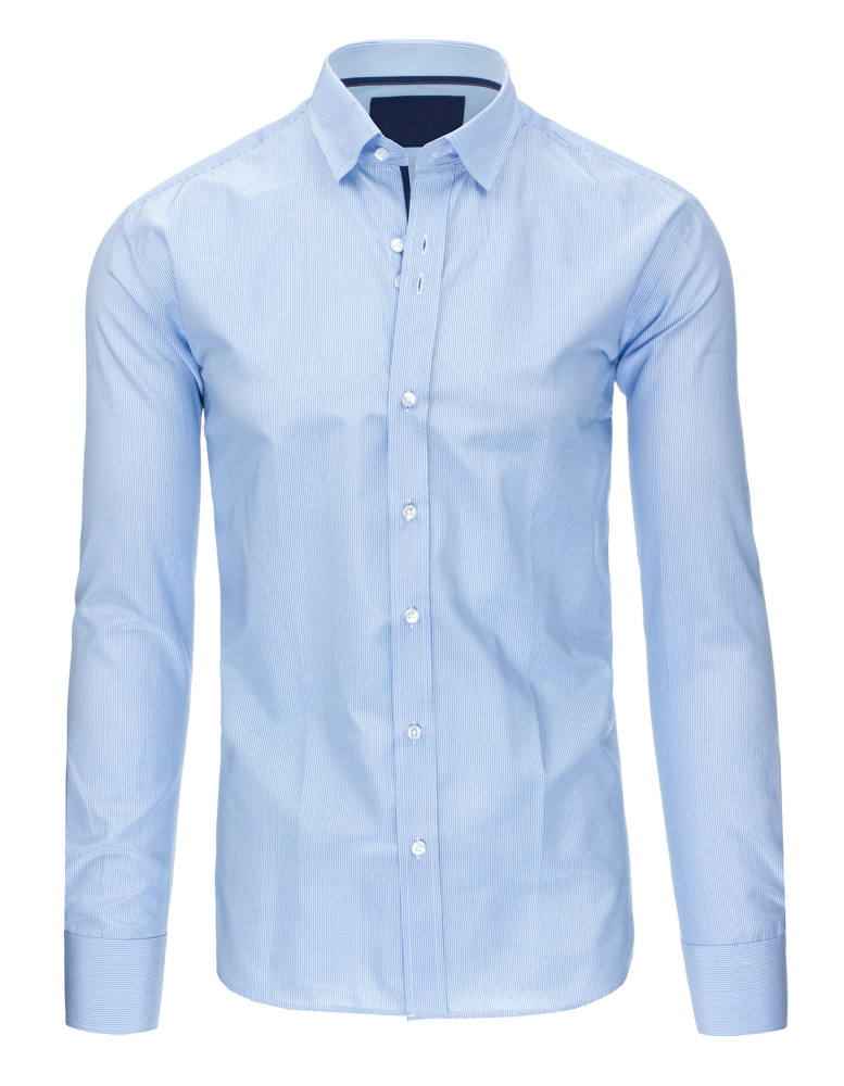 Błękitna koszula męska w paski z długim rękawem DX1306  tMACa