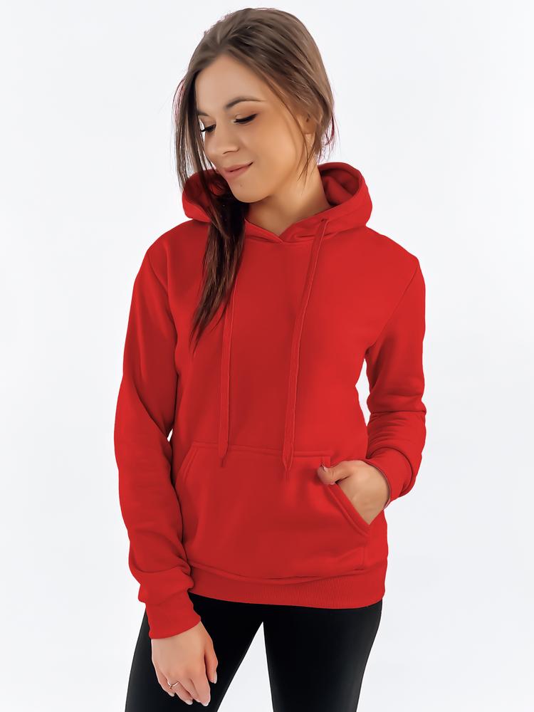 Bluza damska BASIC z kapturem czerwona BY0175