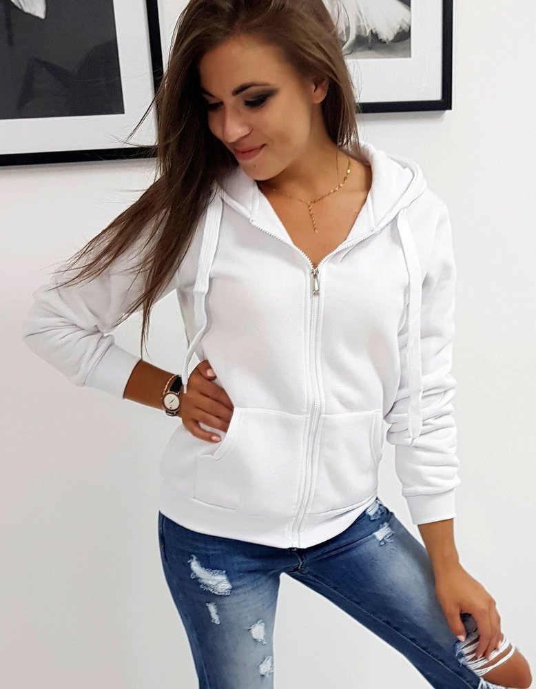 biała rozpinana bluza damska