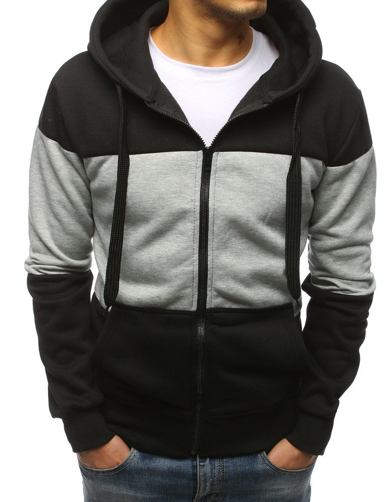 Bluza męska rozpinana z kapturem czarna (bx3856)