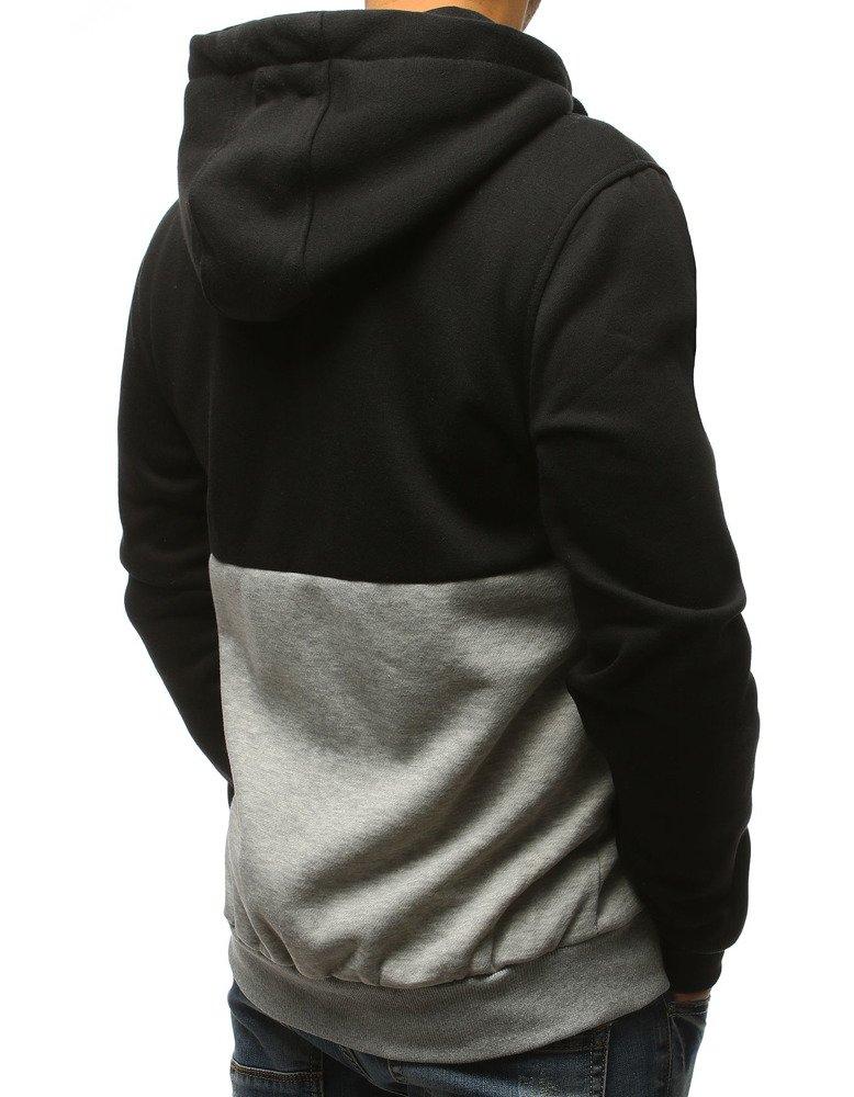 Bluza męska z kapturem czarno szara BX3796