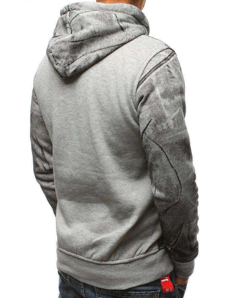 Bluza męska z kapturem szara (bx3582)