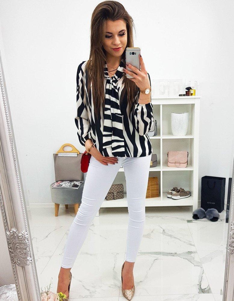 bluza pudrowo biało czarna