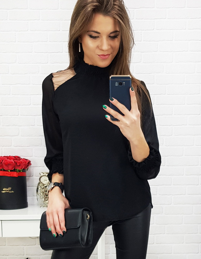 d68e53f94eece3 Czarna bluzka damska CASPE (ry0595) - sklep online Dstreet.pl