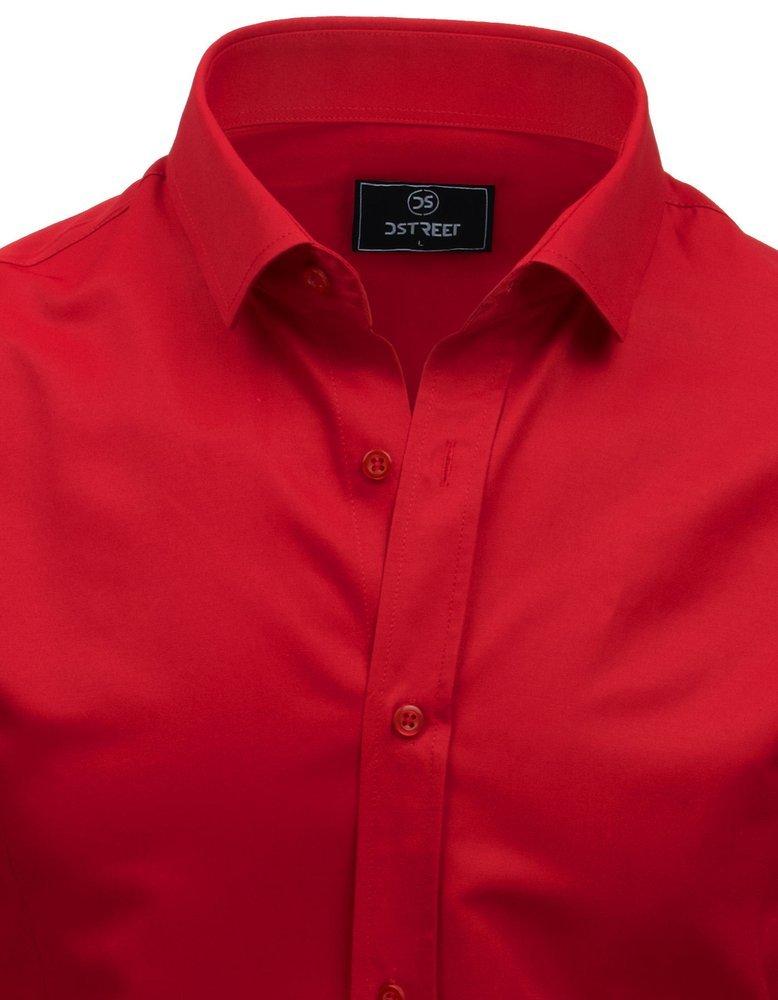 Elegancka koszula męska PREMIUM z długim rękawem czerwona  zIDVk