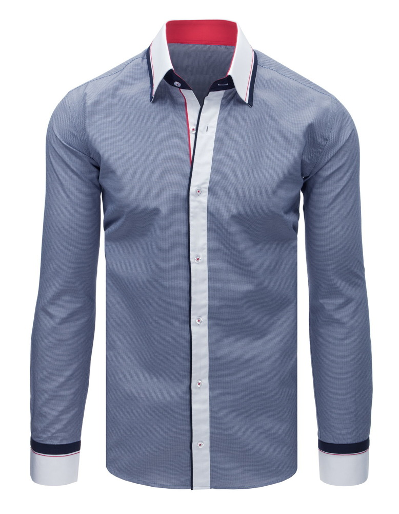 2bae62da503cc1 Elegancka koszula męska w krateczkę granatowa (dx1633) - sklep ...