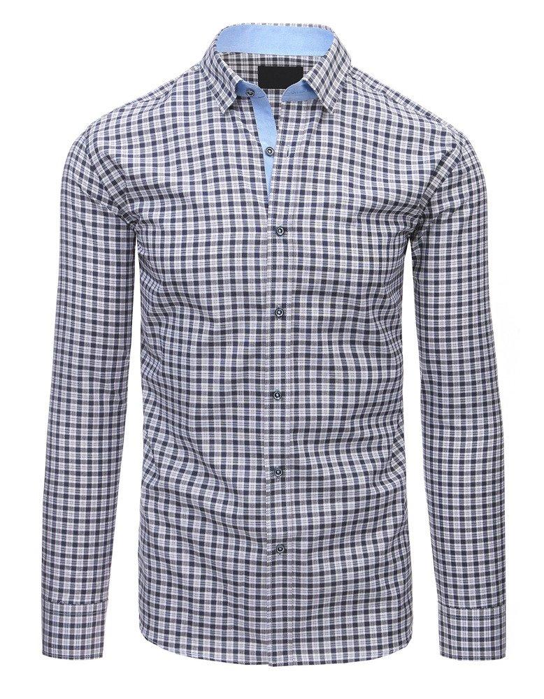 Granatowa koszula męska w kratę z długim rękawem DX1491  rQfAd