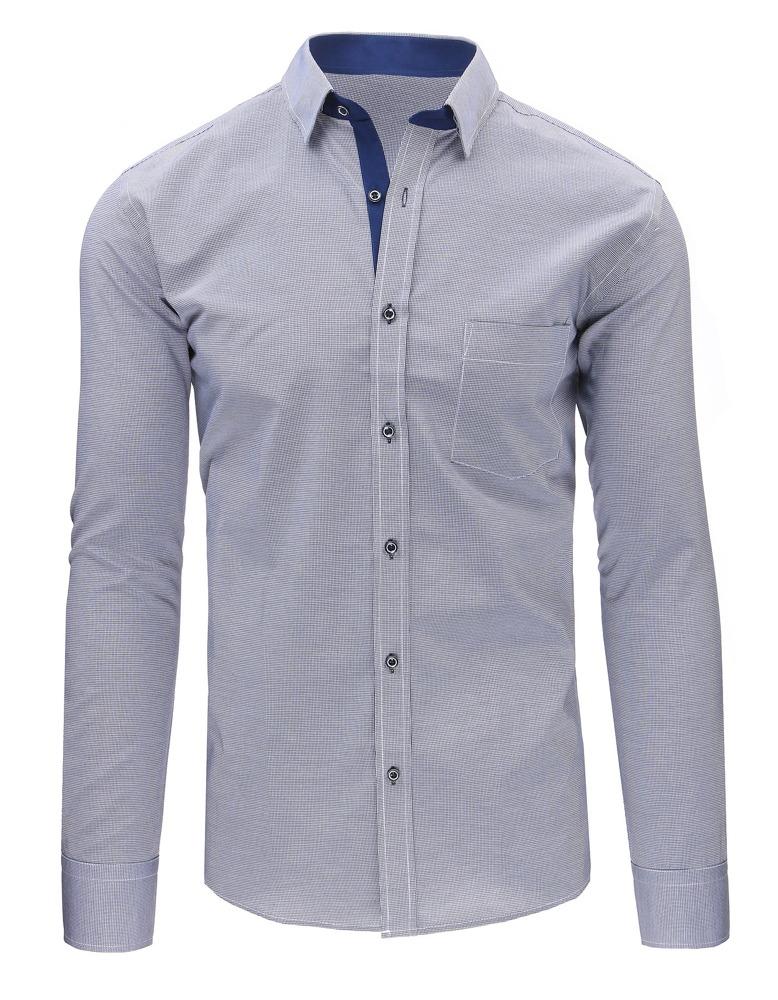 dedfcdf2a24ba6 Granatowo-biała koszula męska w kratę z długim rękawem (dx1489) ...