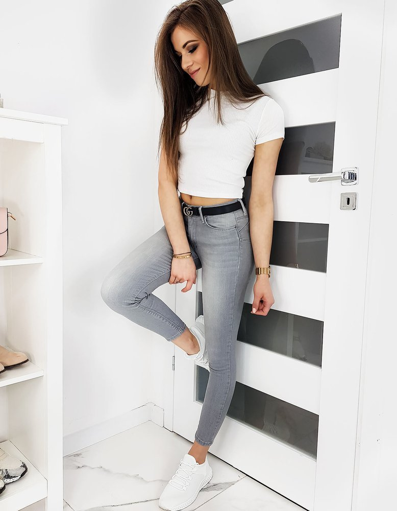 Jeansy damskie Skinny Fit BELLY szare UY0355