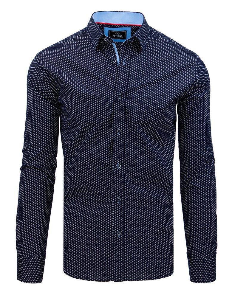 Granatowa koszula męska z długim rękawem kotwice | Sklep