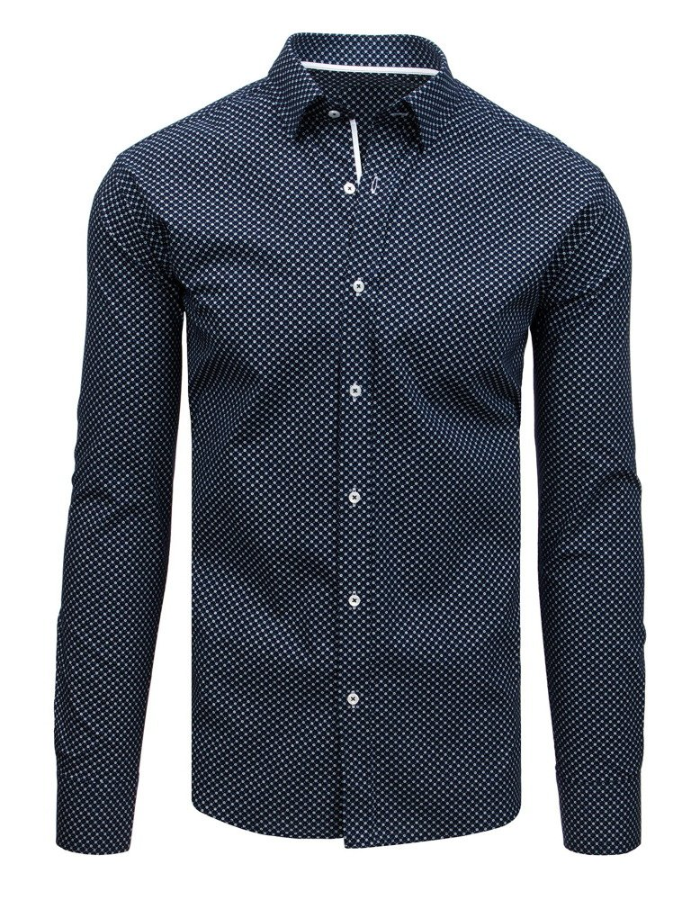 fe162cd0081160 Koszula męska elegancka we wzory granatowa (dx1704) - sklep online ...