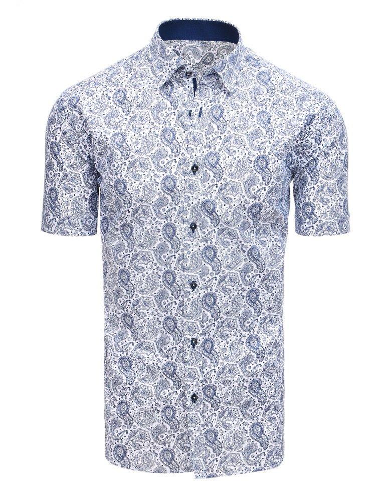 Koszula męska elegancka we wzory z krótkim rękawem biała  zgXCj