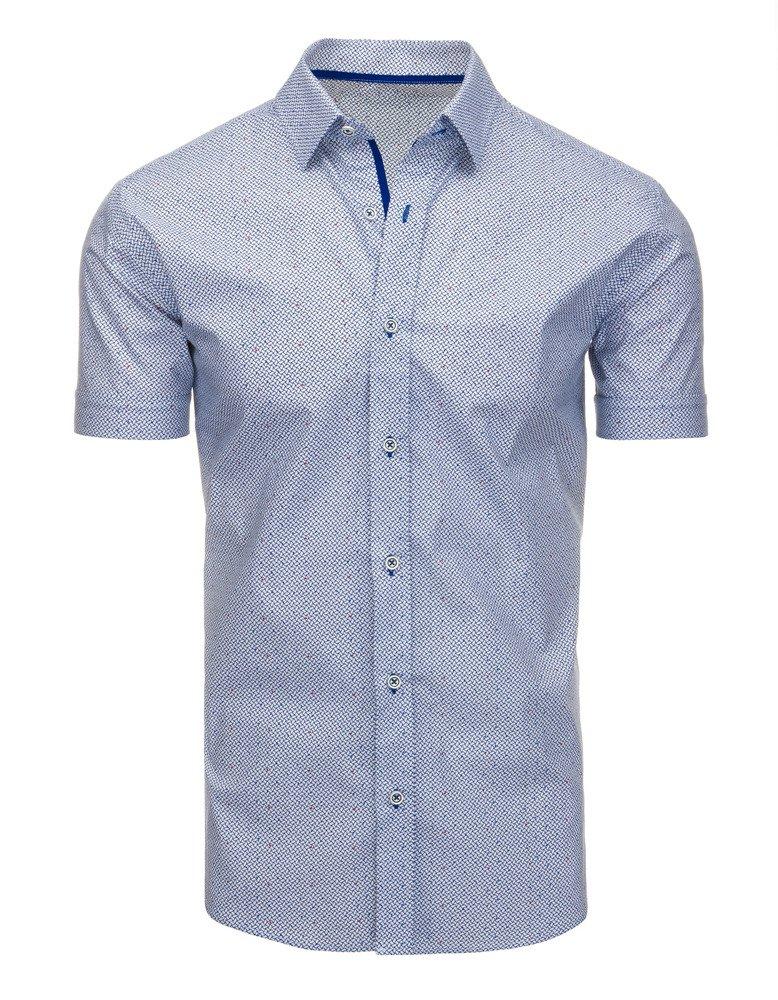 33751f52f64f1c Koszula męska elegancka we wzory z krótkim rękawem biała (kx0787) ...